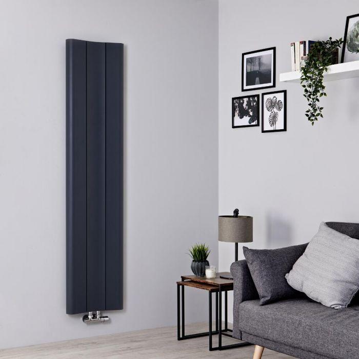 Milano Solis - Aluminium Anthracite Vertical Designer Radiator - 1600mm x 370mm