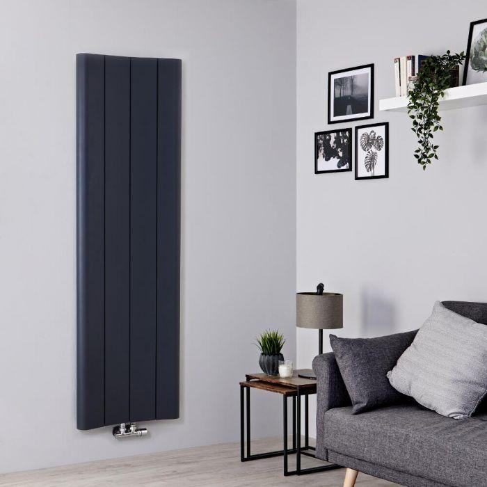Milano Solis - Aluminium Anthracite Vertical Designer Radiator - 1600mm x 495mm