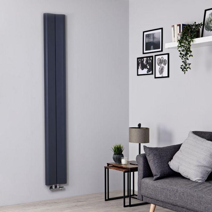 Milano Solis - Aluminium Anthracite Vertical Designer Radiator - 1800mm x 245mm