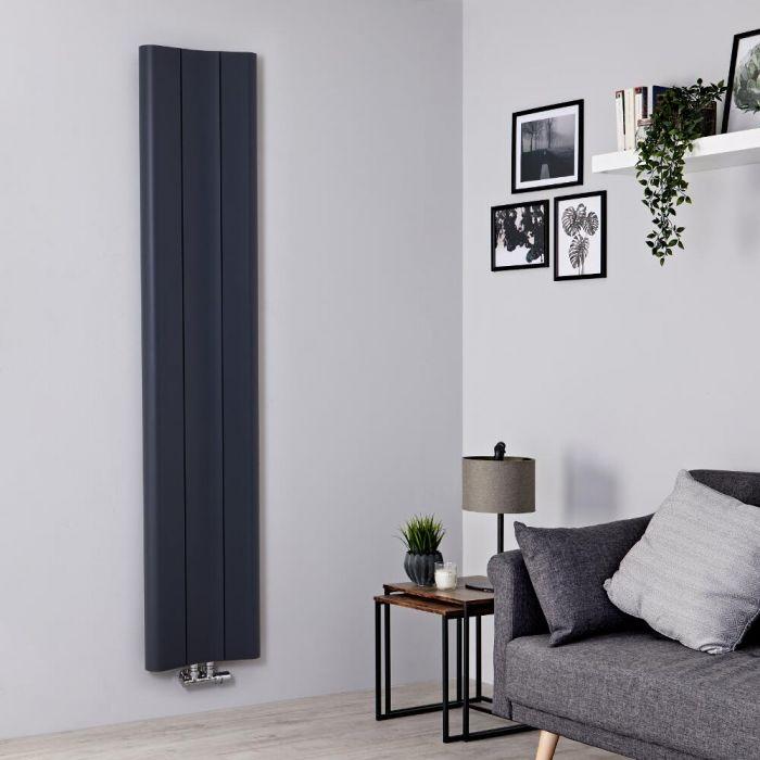 Milano Solis - Aluminium Anthracite Vertical Designer Radiator - 1800mm x 370mm