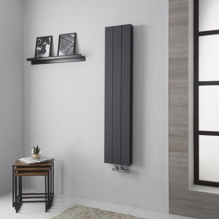 Milano Kit - Aluminium Anthracite Vertical Designer Radiator - 1400mm x 280mm (Double Panel)