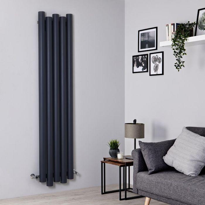 Milano Motus - Aluminium Anthracite Vertical Designer Radiator - 1800mm x 390mm