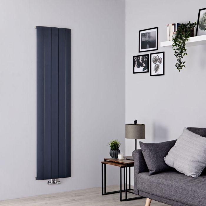 Milano Skye - Aluminium Anthracite Vertical Designer Radiator - 1600mm x 470mm
