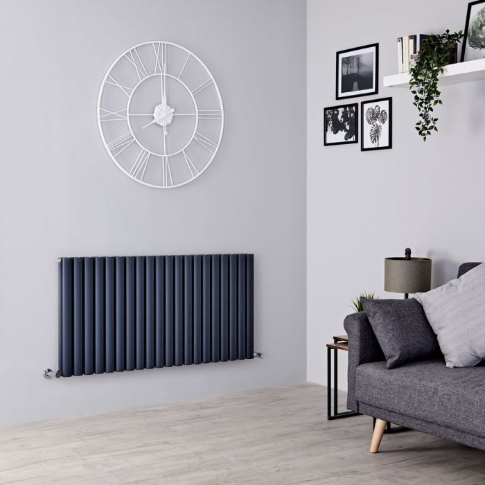 Milano Aruba Ayre - Aluminium Anthracite Horizontal Designer Radiator - 600mm x 1190mm (Double Panel)