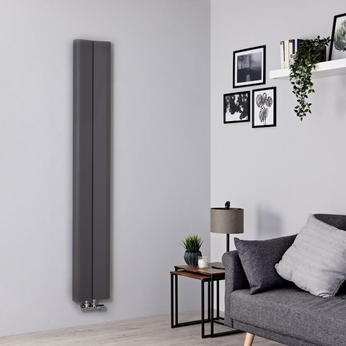 Milano Solis - Aluminium Light Grey Vertical Designer Radiator - 1600mm x 245mm