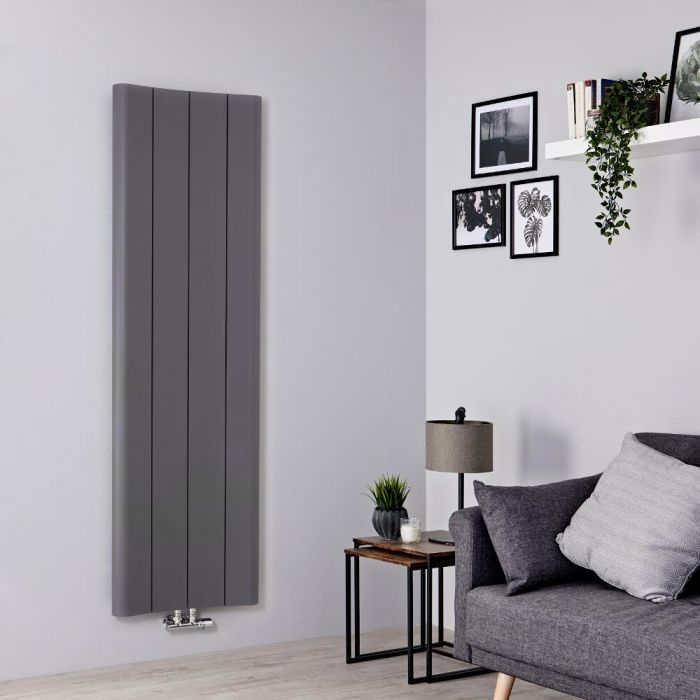 Milano Solis - Aluminium Light Grey Vertical Designer Radiator - 1600mm x 495mm