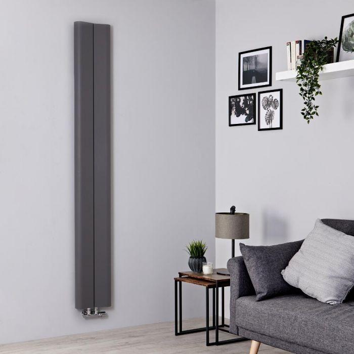 Milano Solis - Aluminium Light Grey Vertical Designer Radiator - 1800mm x 245mm