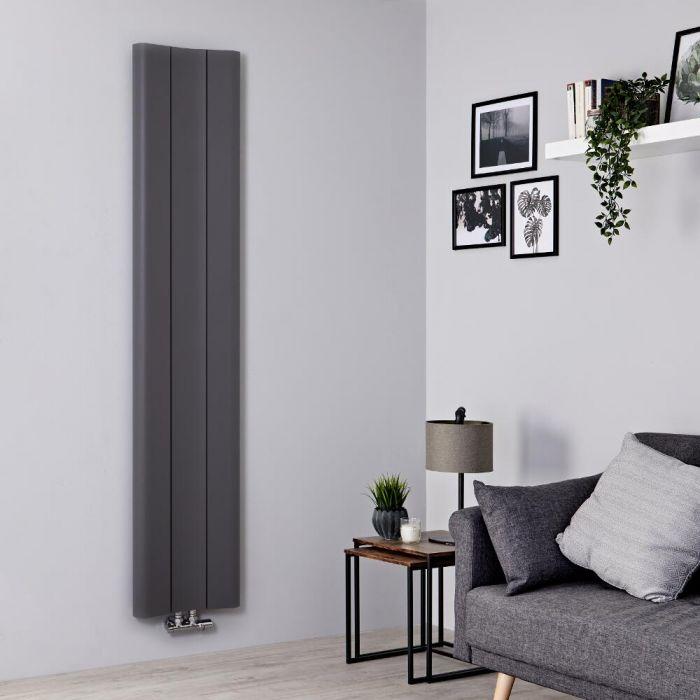 Milano Solis - Aluminium Light Grey Vertical Designer Radiator - 1800mm x 370mm