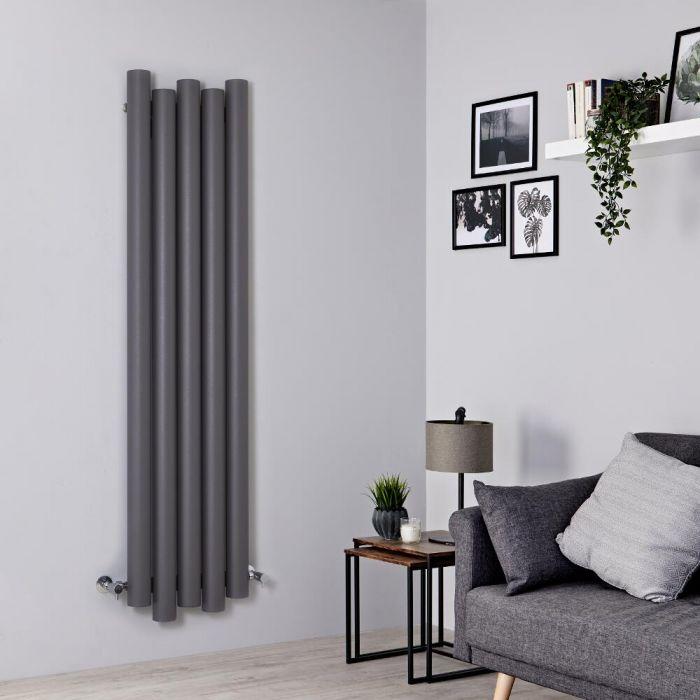 Milano Motus - Aluminium Light Grey Vertical Designer Radiator - 1600mm x 390mm