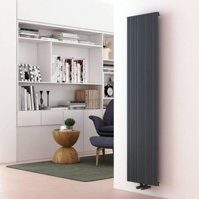 Milano Lex - Aluminium Anthracite Vertical Designer Radiator - 1600mm x 375mm