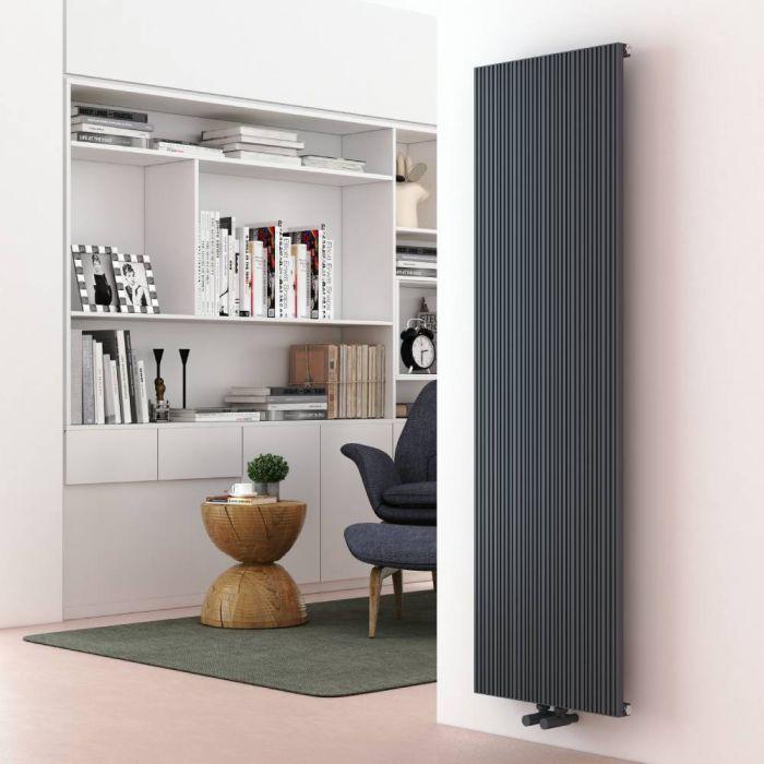 Milano Lex - Aluminium Anthracite Vertical Designer Radiator - 1600mm x 470mm