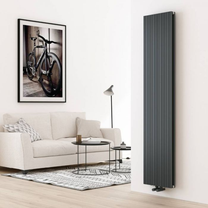 Milano Lex - Aluminium Anthracite Vertical Designer Radiator - 1800mm x 375mm (Double Panel)