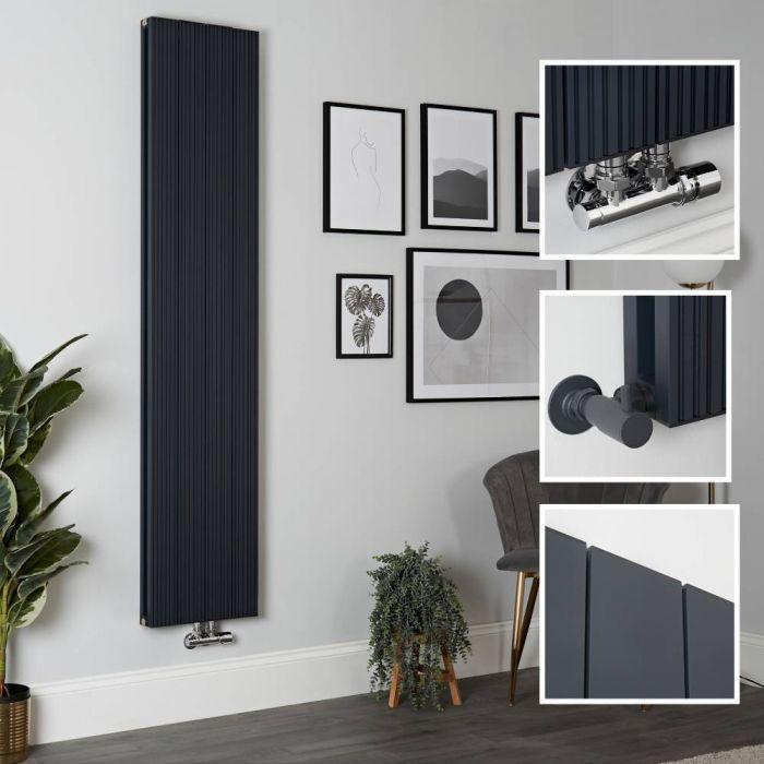 Milano Lex - Aluminium Anthracite Vertical Designer Radiator - 1800mm x 375mm (Double Panel)