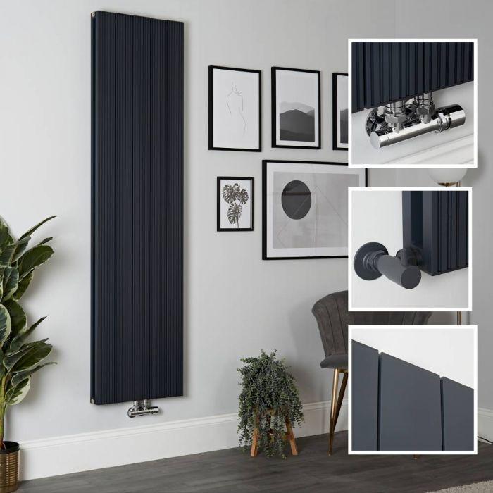 Milano Lex - Aluminium Anthracite Vertical Designer Radiator - 1800mm x 470mm (Double Panel)