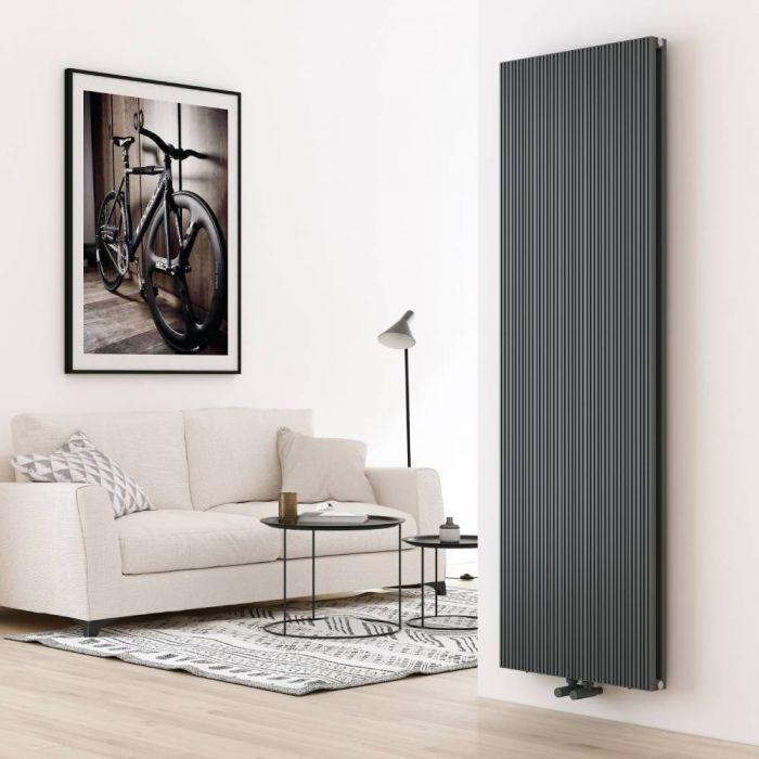 Milano Lex - Aluminium Anthracite Vertical Designer Radiator - 1800mm x 565mm (Double Panel)
