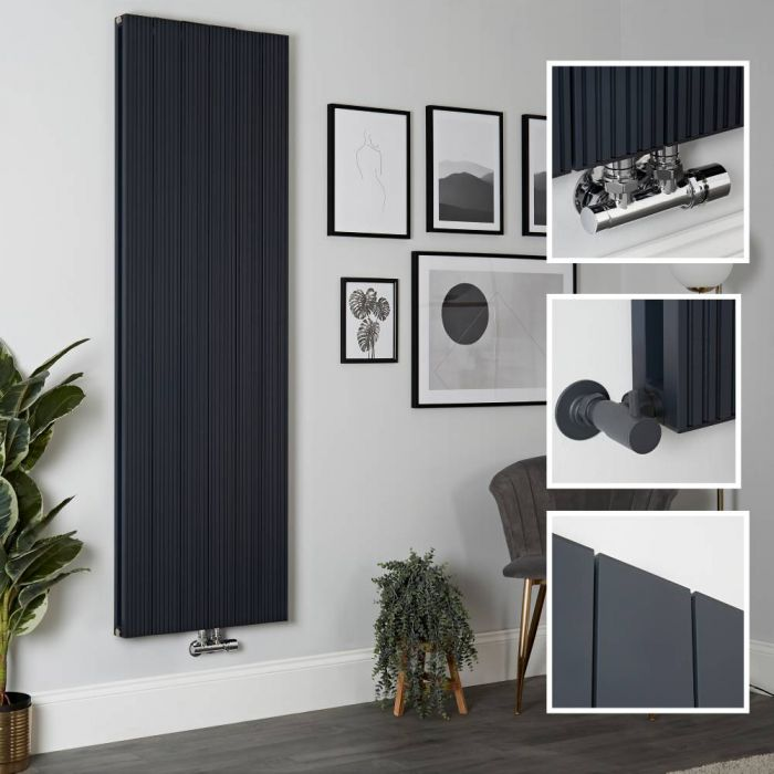 Milano Lex - Aluminium Anthracite Vertical Designer Radiator - 1800mm x 565mm (Double Panel)