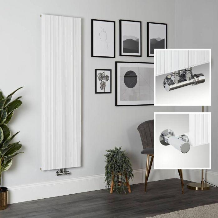 Milano Lex - Aluminium White Vertical Designer Radiator - 1600mm x 470mm