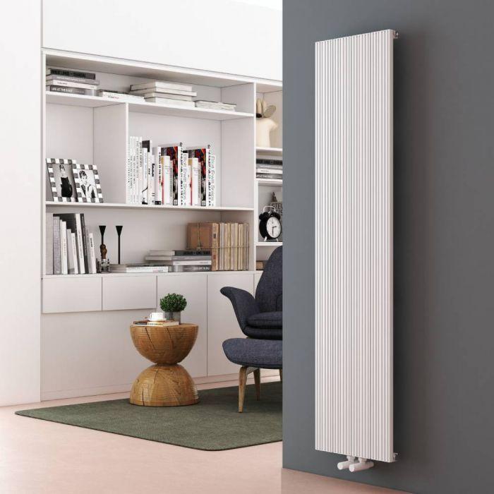 Milano Lex - Aluminium White Vertical Designer Radiator - 1600mm x 375mm