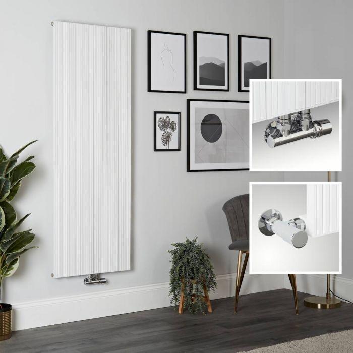 Milano Lex - Aluminium White Vertical Designer Radiator - 1600mm x 565mm