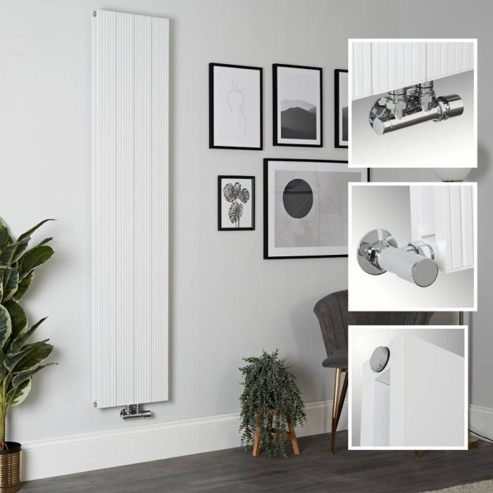 Milano Lex - Aluminium White Vertical Designer Radiator - 1800mm x 375mm (Double Panel)