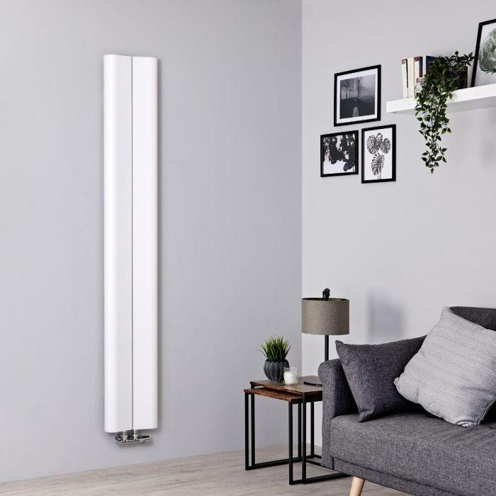 Milano Solis - Aluminium White Vertical Designer Radiator - 1600mm x 245mm