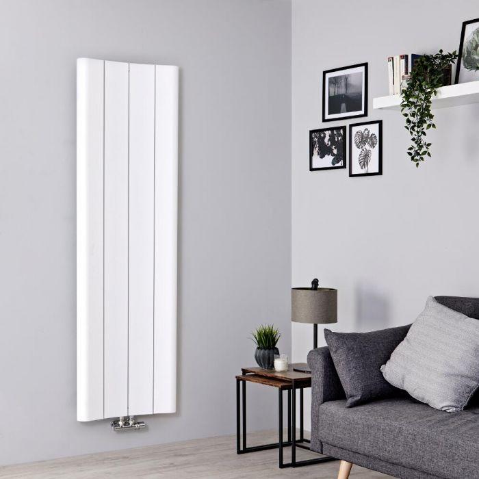 Milano Solis - Aluminium White Vertical Designer Radiator - 1600mm x 495mm