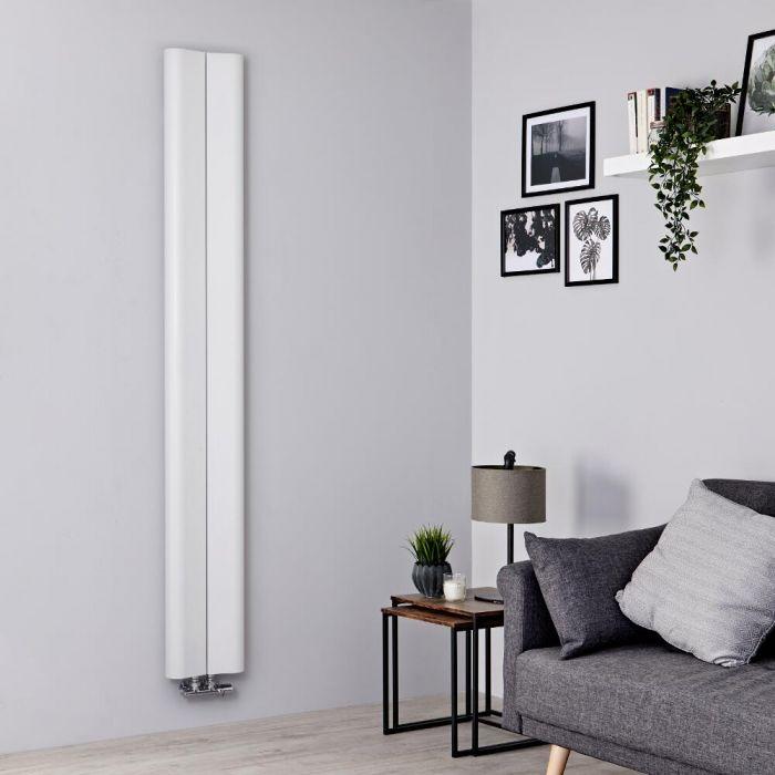 Milano Solis - Aluminium White Vertical Designer Radiator - 1800mm x 245mm