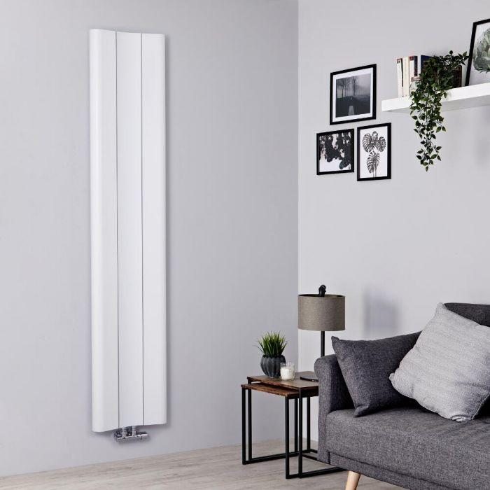 Milano Solis - Aluminium White Vertical Designer Radiator - 1800mm x 370mm