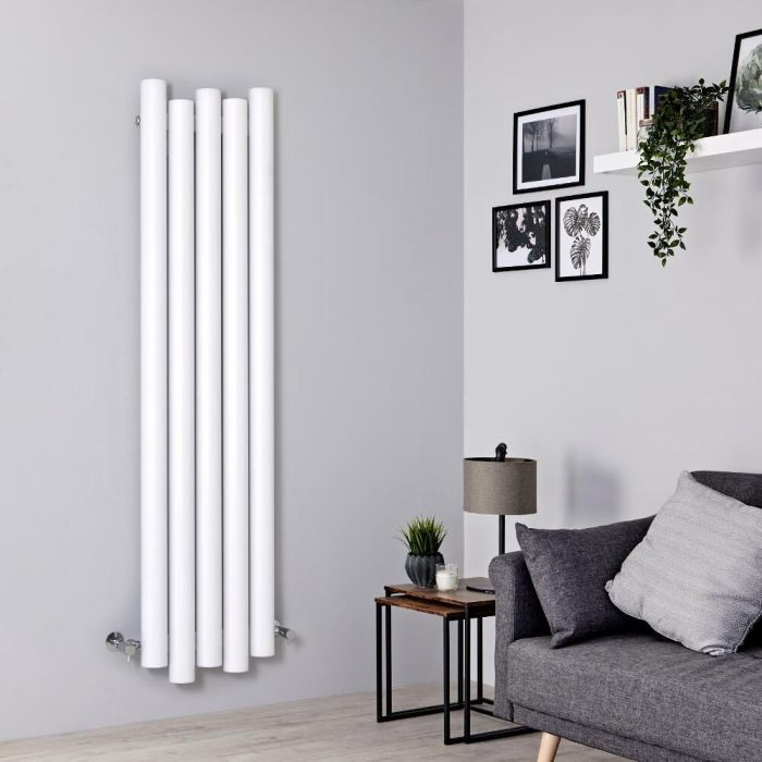 Milano Motus - Aluminium White Vertical Designer Radiator - 1600mm x 390mm