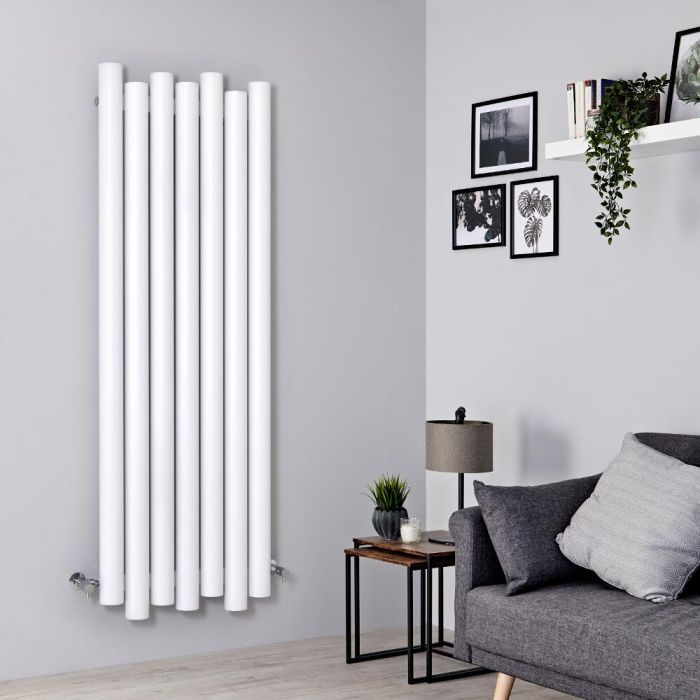 Milano Motus - Aluminium White Vertical Designer Radiator - 1600mm x 550mm