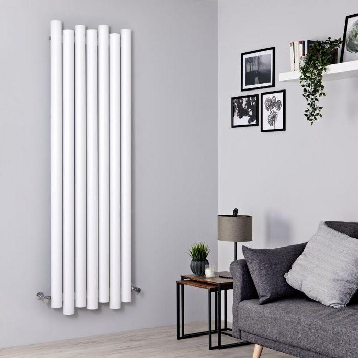 Milano Motus - Aluminium White Vertical Designer Radiator - 1800mm x 550mm
