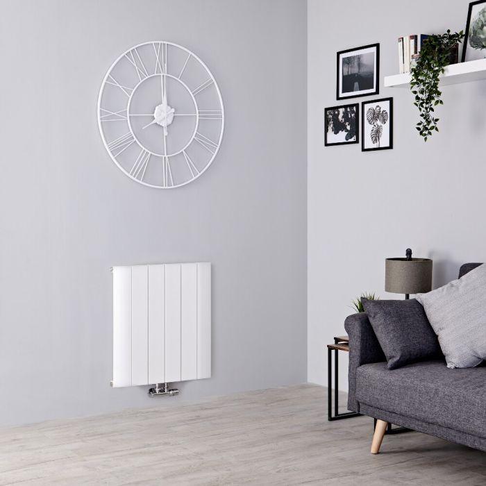 Milano Skye - Aluminium White Horizontal Designer Radiator - 600mm x 565mm
