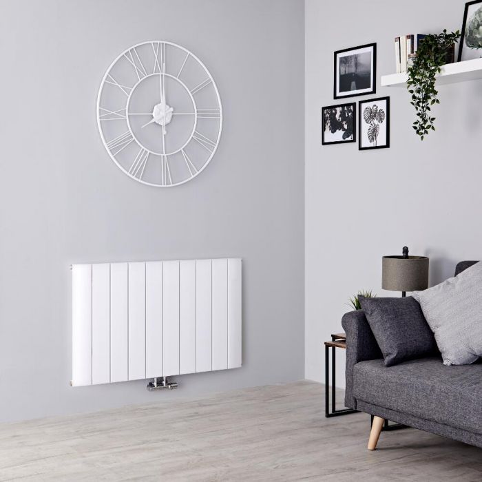 Milano Skye - Aluminium White Horizontal Designer Radiator - 600mm x 945mm
