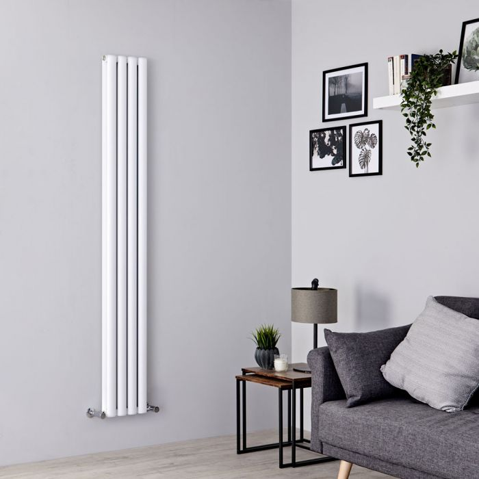 Milano Aruba Ayre - Aluminium White Vertical Designer Radiator - 1800mm x 230mm (Double Panel)