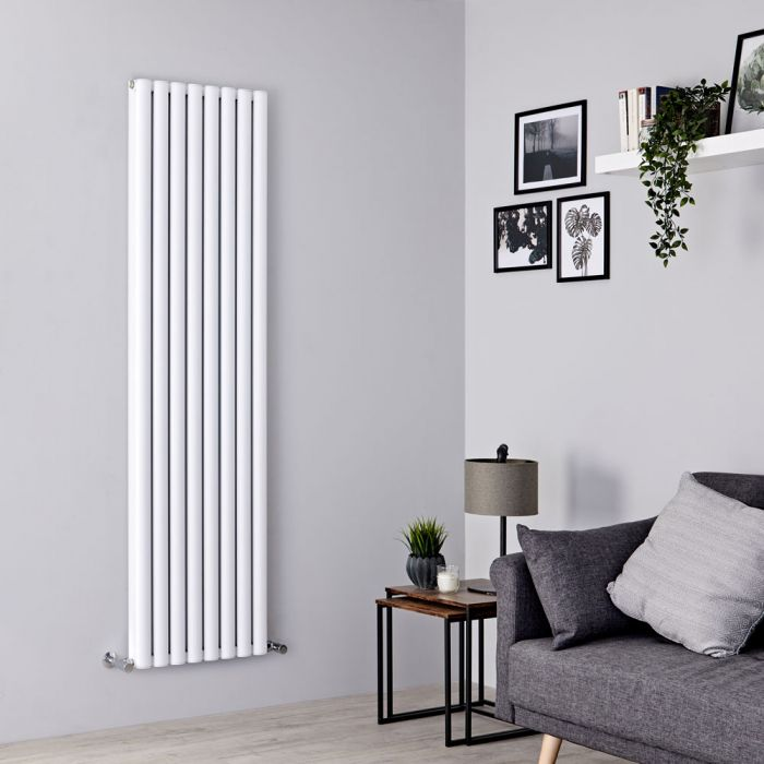 Milano Aruba Ayre - Aluminium White Vertical Designer Radiator - 1800mm x 470mm (Double Panel)