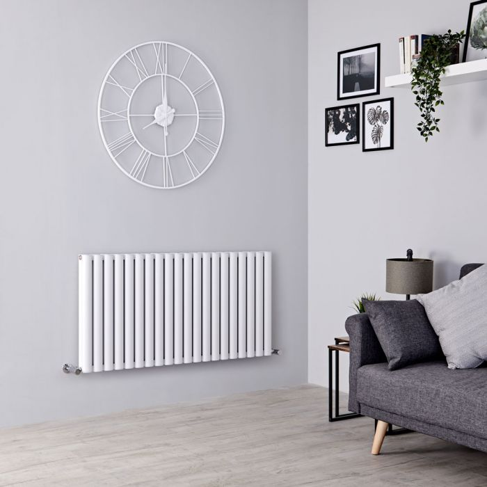 Milano Aruba Ayre - Aluminium White Horizontal Designer Radiator - 600mm x 1190mm (Double Panel)
