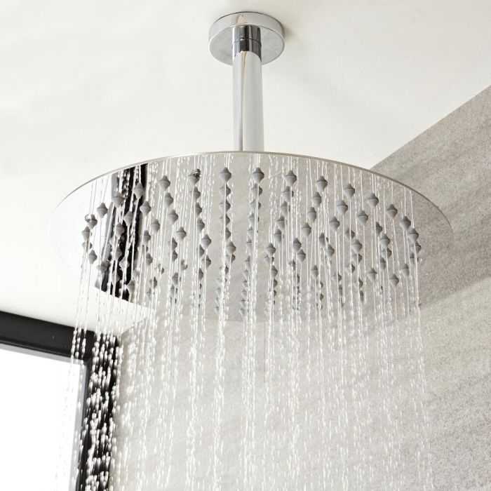 Milano Mirage - Modern Round Ceiling Mounted Shower Arm - Chrome