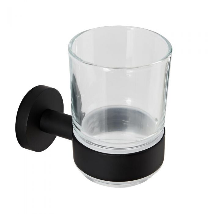 Milano Nero - Black Modern Wall Hung Tumbler with Holder
