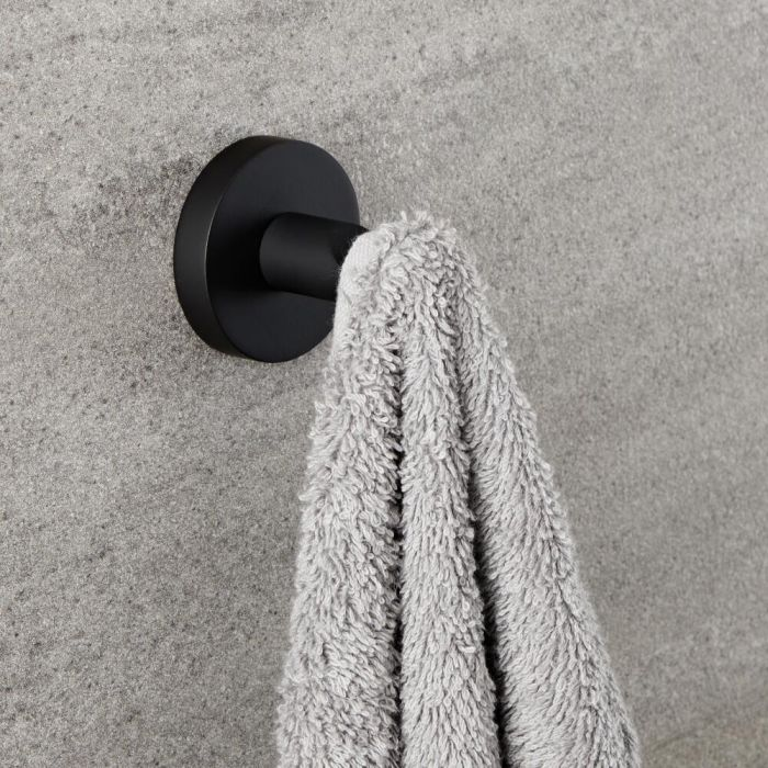 Milano Nero - Black Modern Wall Hung Robe Hook