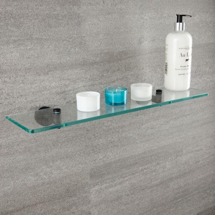 Milano Nero - Black and Glass Modern Wall Hung Shelf - 58mm x 143mm