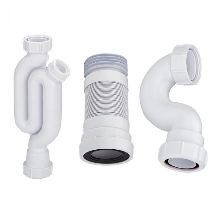 McAlpine - Basin Trap, Bath Trap and Pan Connector for Pedestal Basin, Standard Bath and Close Coupled Toilet