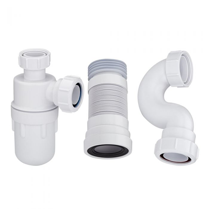 McAlpine - Bottle Trap, Bath Trap and Pan Connector for Pedestal Basin, Standard Bath and Close Coupled Toilet