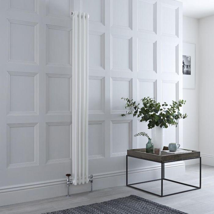Milano Windsor - White Vertical Traditional Column Radiator - 1800mm x 200mm (Double Column)