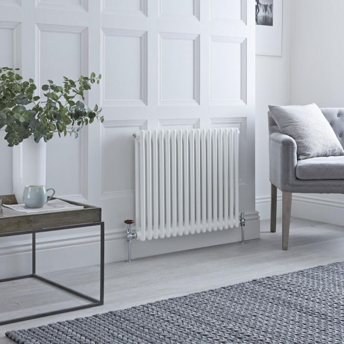 Milano Windsor - White Horizontal Traditional Column Radiator - 600mm x 785mm (Double Column)
