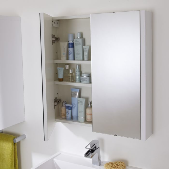 Milano Ren - White Modern Wall Hung Bathroom Mirrored Cabinet - 650mm x 600mm