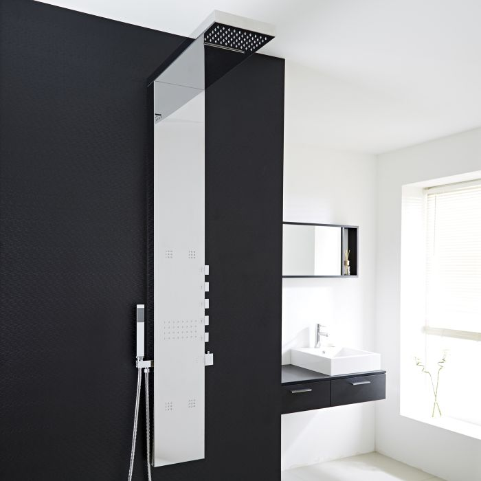 Milano Tahuata - Modern Exposed Thermostatic Shower Tower Panel with Large Shower Head, Hand Shower and Body Jets - Chrome