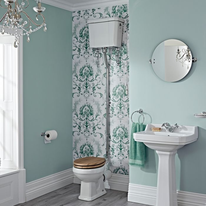 Milano Richmond - White Traditional Round Floor Standing Toilet Pan with High Level Cistern and Wooden Seat