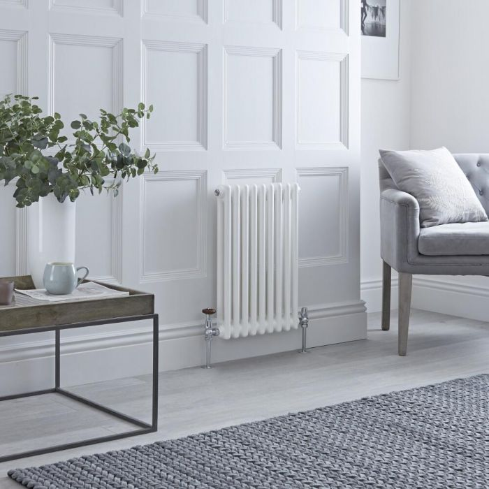 Milano Windsor - White Horizontal Traditional Column Radiator - 600mm x 425mm (Double Column)