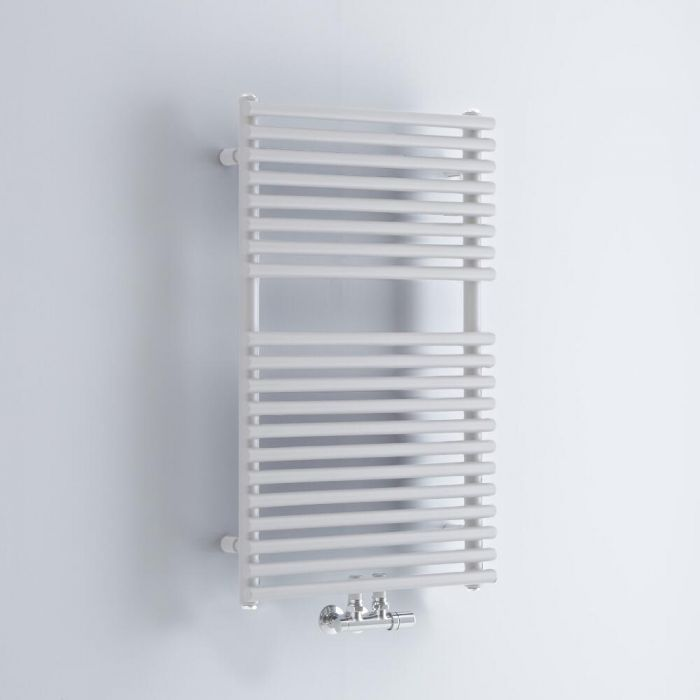 Milano Via - White Central Connection Bar on Bar Heated Towel Rail - 835mm x 500mm