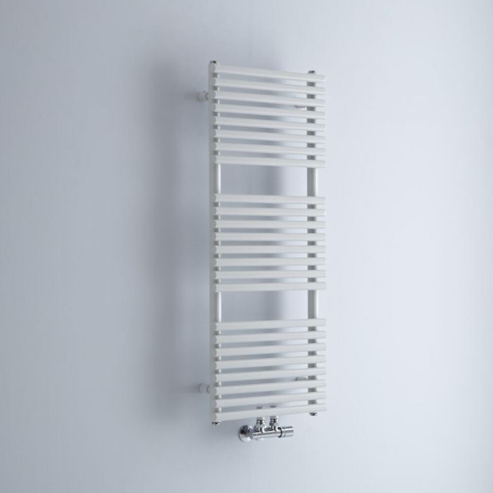 Milano Via - White Central Connection Bar on Bar Heated Towel Rail - 1065mm x 400mm